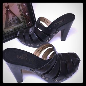 SBICCA of California Black Studded Slip On Heels